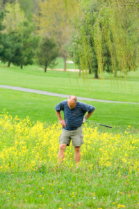 Bad Golfer Looking in Weeds